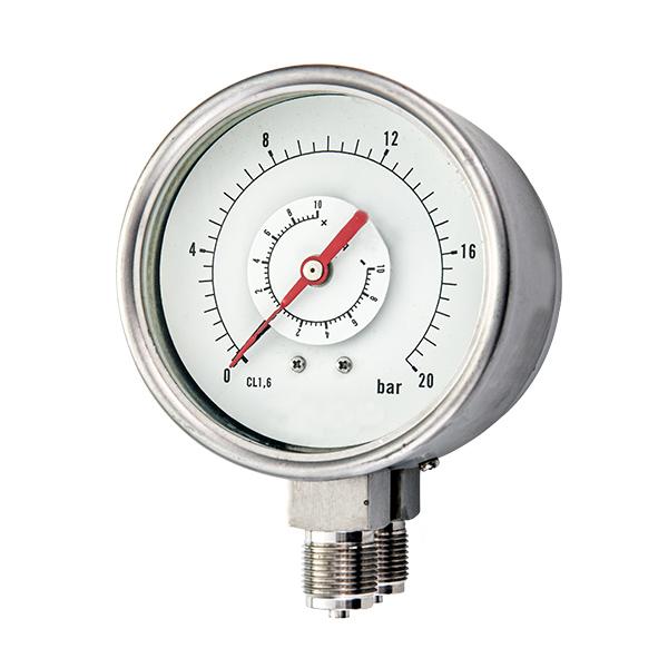 100mm bottom special manometer pressure  gauge two connections OKT-75