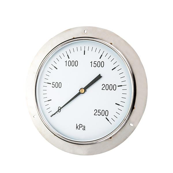 250mm back brass connection glycerin filled pressure gauge with flange OKT-66