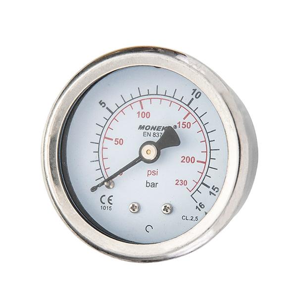 40mm axial brass connection glycerin filled pressure gauge crimp type OKT-3