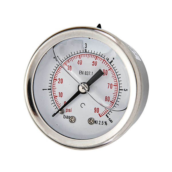 40mm axial brass connection glycerin filled pressure gauge one piece type OKT-5