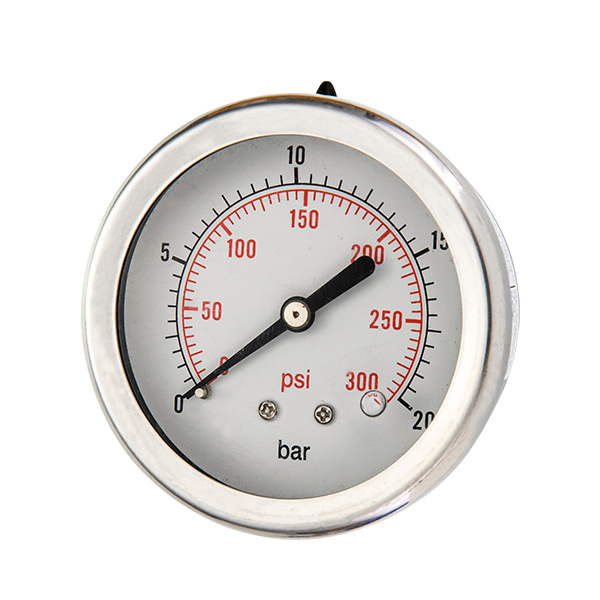 50mm axial brass connection glycerin filled pressure gauge two pieces type OKT-6