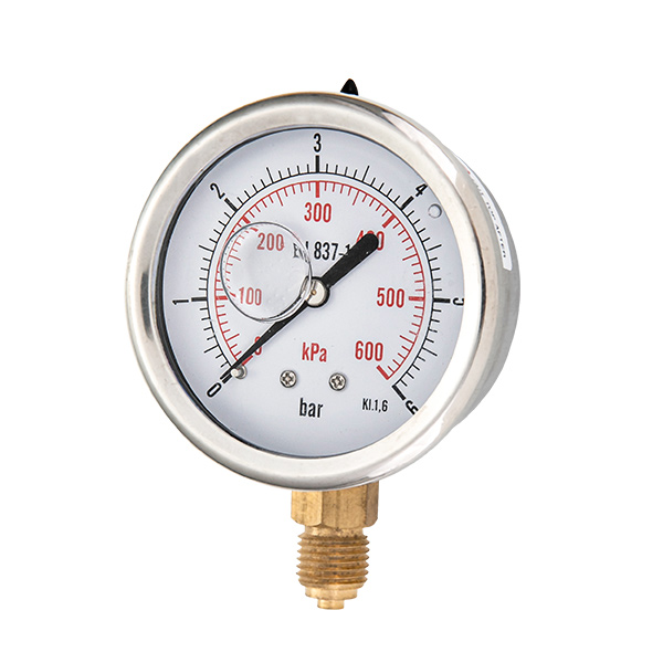 63mm bottom brass connection glycerin filled pressure gauge two pieces type OKT-7