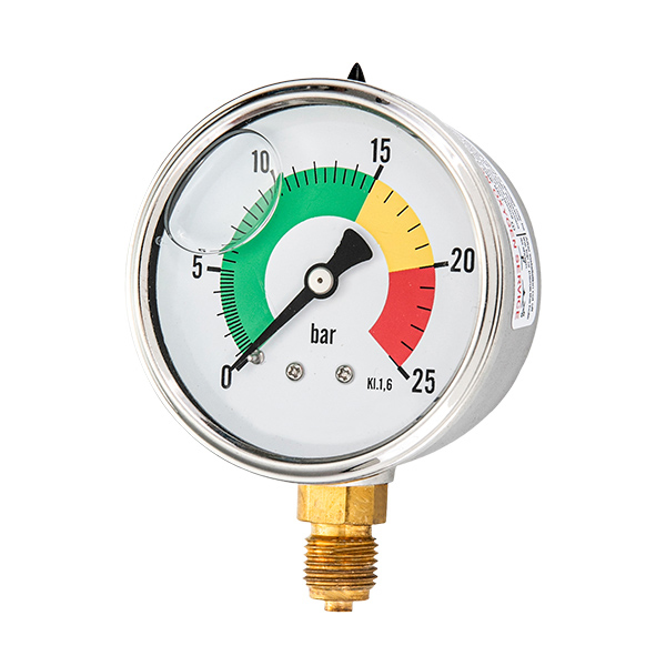 63mm bottom brass connection glycerin filled pressure gauge one piece type OKT-12