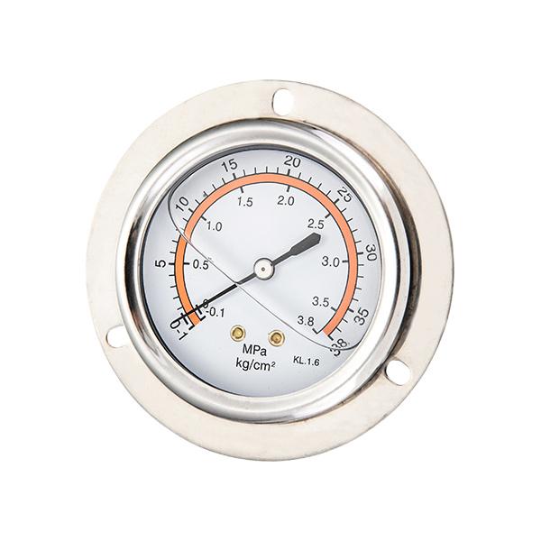 63mm back brass connection glycerin filled pressure gauge with flange OKT-13