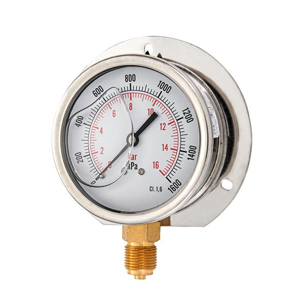 63mm bottom brass connection glycerin filled pressure gauge with flange OKT-8