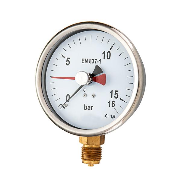 63mm brass connection glycerin filled pressure gauge with  red mark adjustable pointer OKT-11