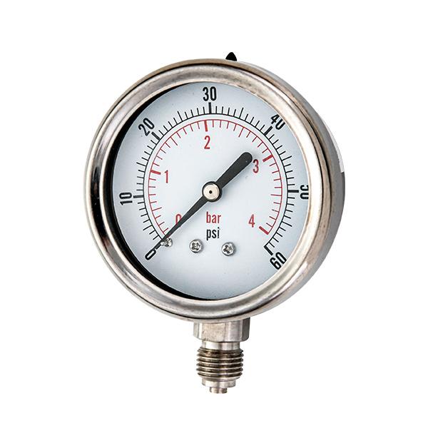 63mm bottom brass connection glycerin filled pressure gauge all stainless steel OKT-62