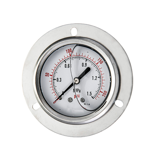 63mm bottom stainless steel connection glycerin filled pressure gauge with flange OKT-63