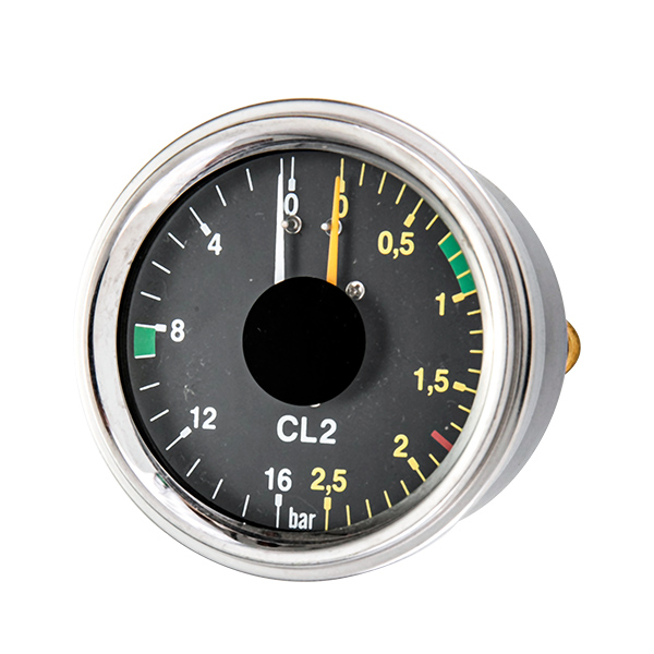 63mm bottom special manometer pressure  gauge two connection and two pointer OKT-74