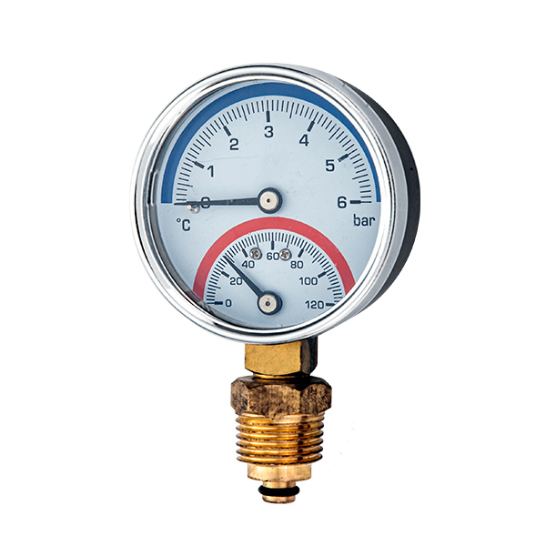 80mm bottom  mounting thermo-manometer with back steel case OKT-83