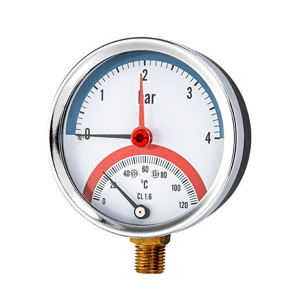 80mm bottom  mounting thermo-manometer with red mark adjustable pointer OKT-84